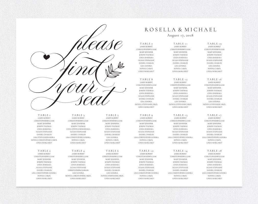 wedding seating chart sign, TOS_11 example image 3