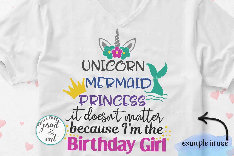 Unicorn Mermaid Princess Birthday Girl words svg cut file example image 4