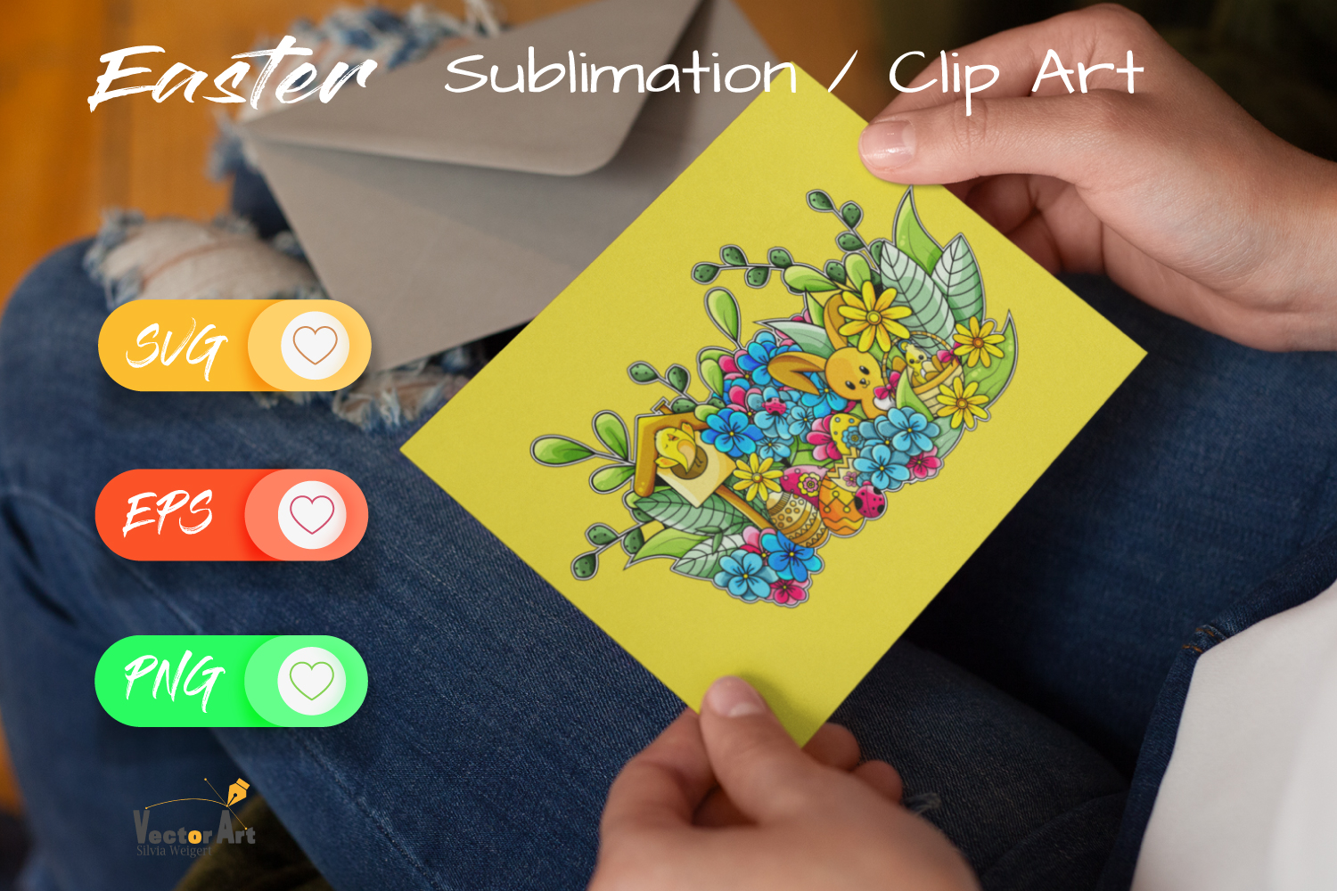 Happy Easter Illustration - Sublimation / Clip Art example image 4