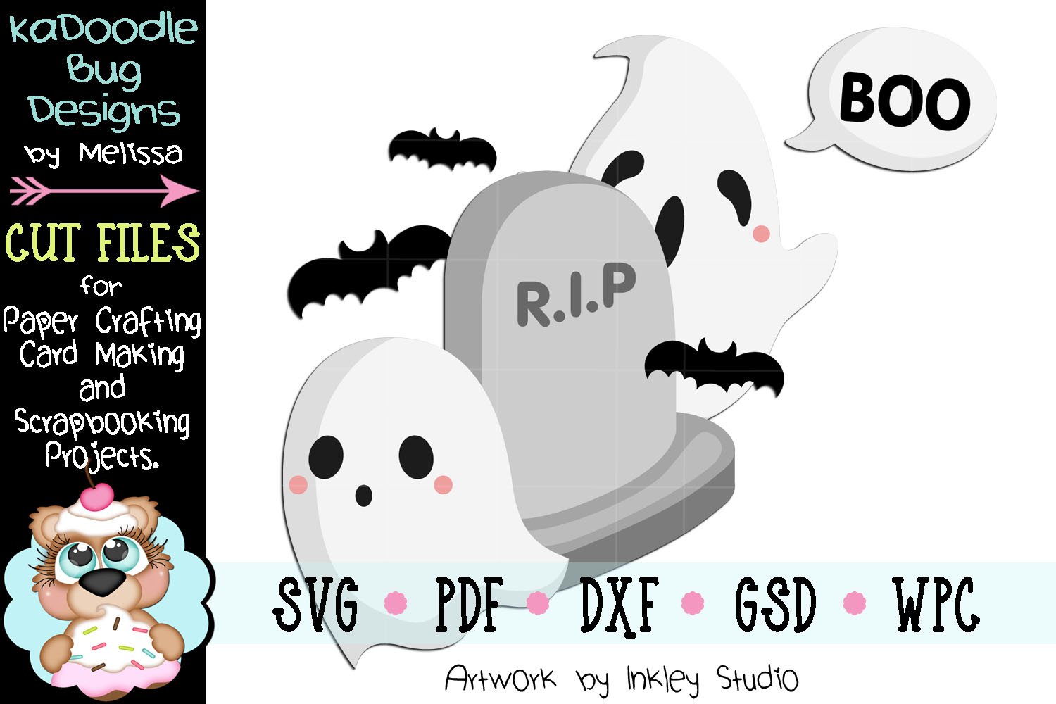 Boo Graveyard Ghost Cut File - SVG PDF DXF GSD WPC example image 1