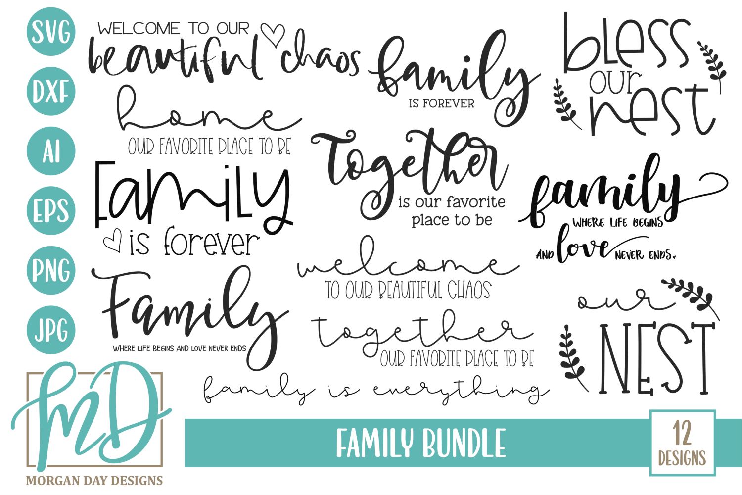 Welcome - Home - Doormat - Sign - Family Bundle SVG example image 1