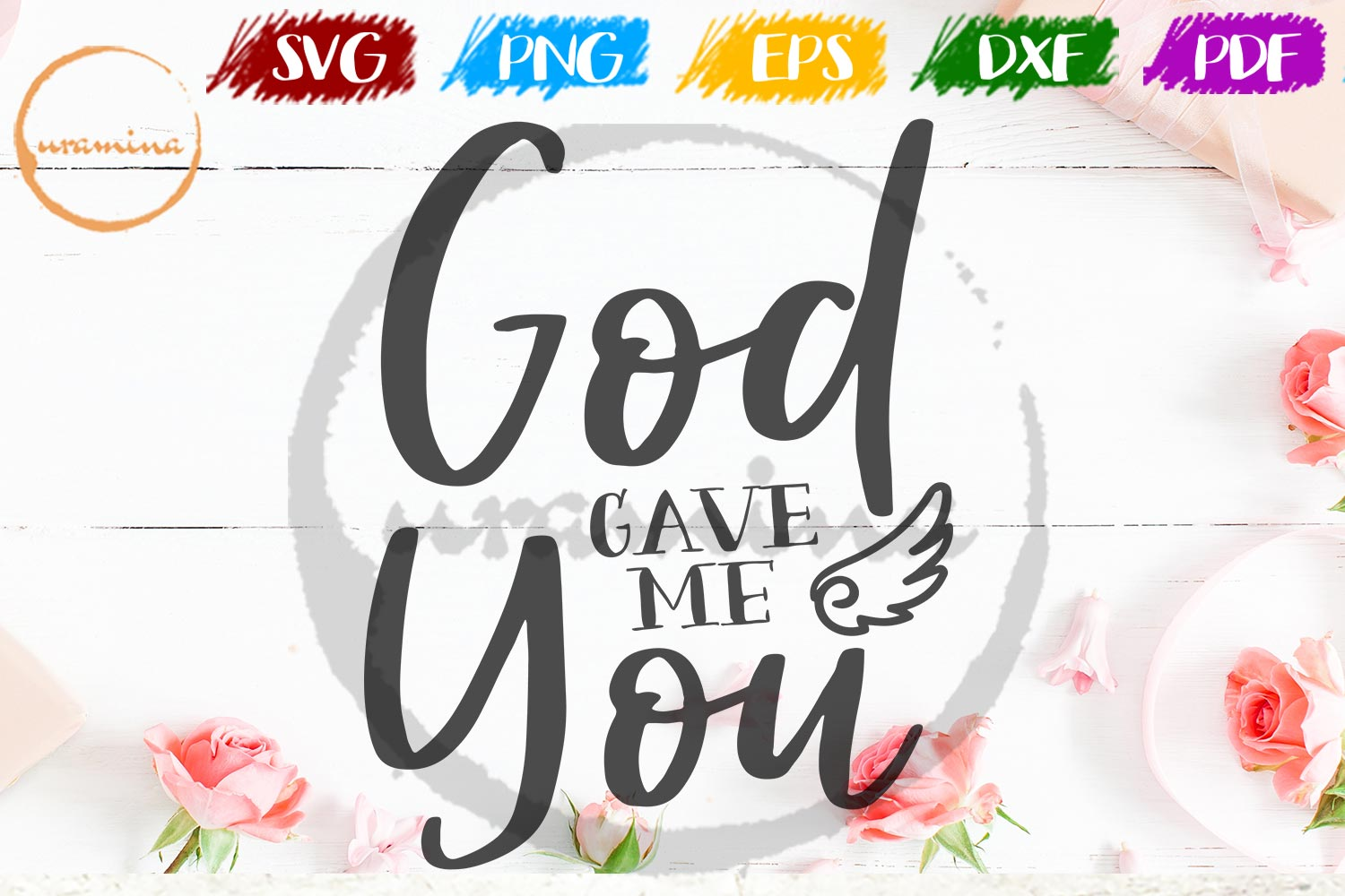 God Gave Me You Valentine SVG PDF PNG example image 1