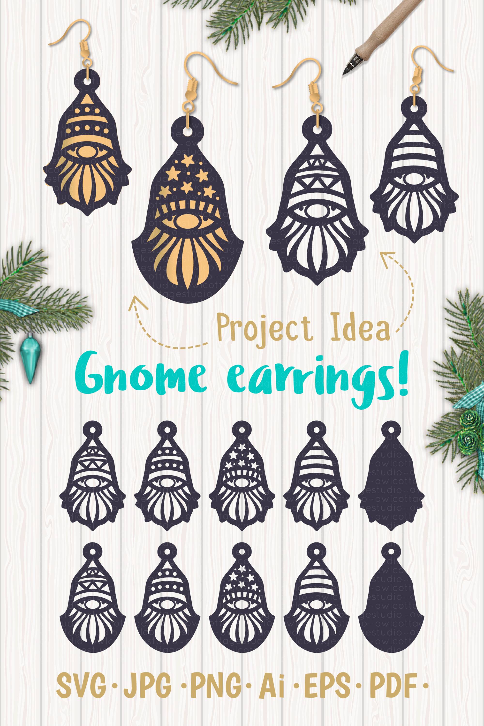 Gnomes Earrins Template Set SVG, Gnome Clipart, Tomte example image 8