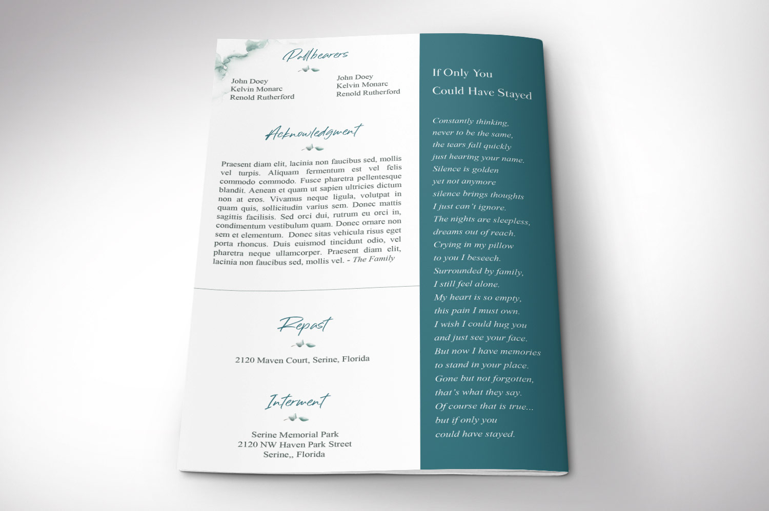 Blossom Funeral Program Word Publisher Template | 8 Pg example image 6