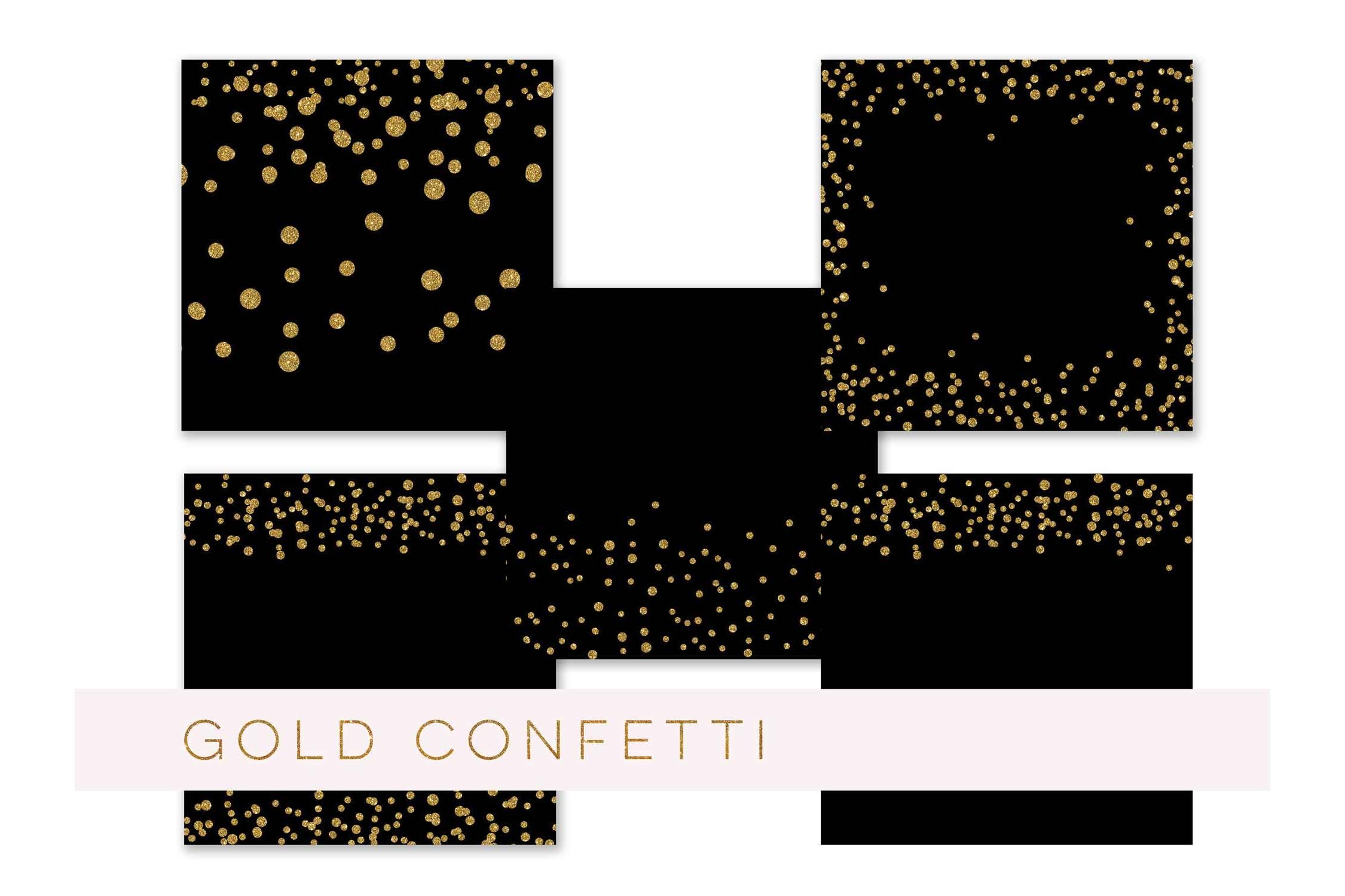 Confetti Clipart, Confetti Clip Art, Confetti Overlay, Black Gold Confetti Borders, Glitter Gold Confetti Graphics, Glitter Digital Confetti, commercial use example image 2