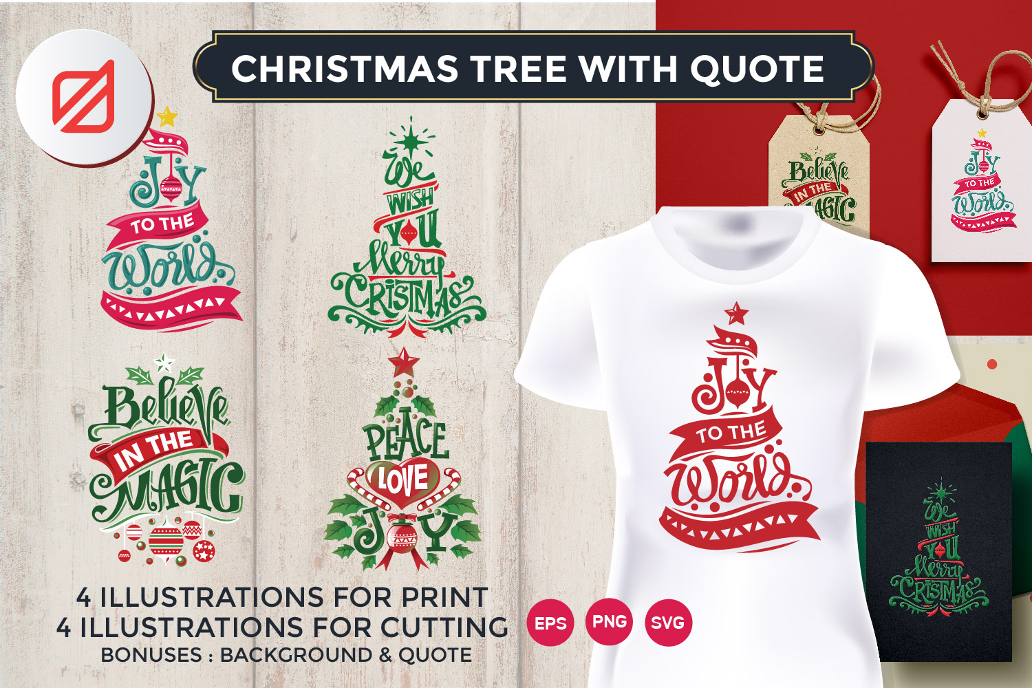 Christmas Tree with Quote Cutting File example image 1