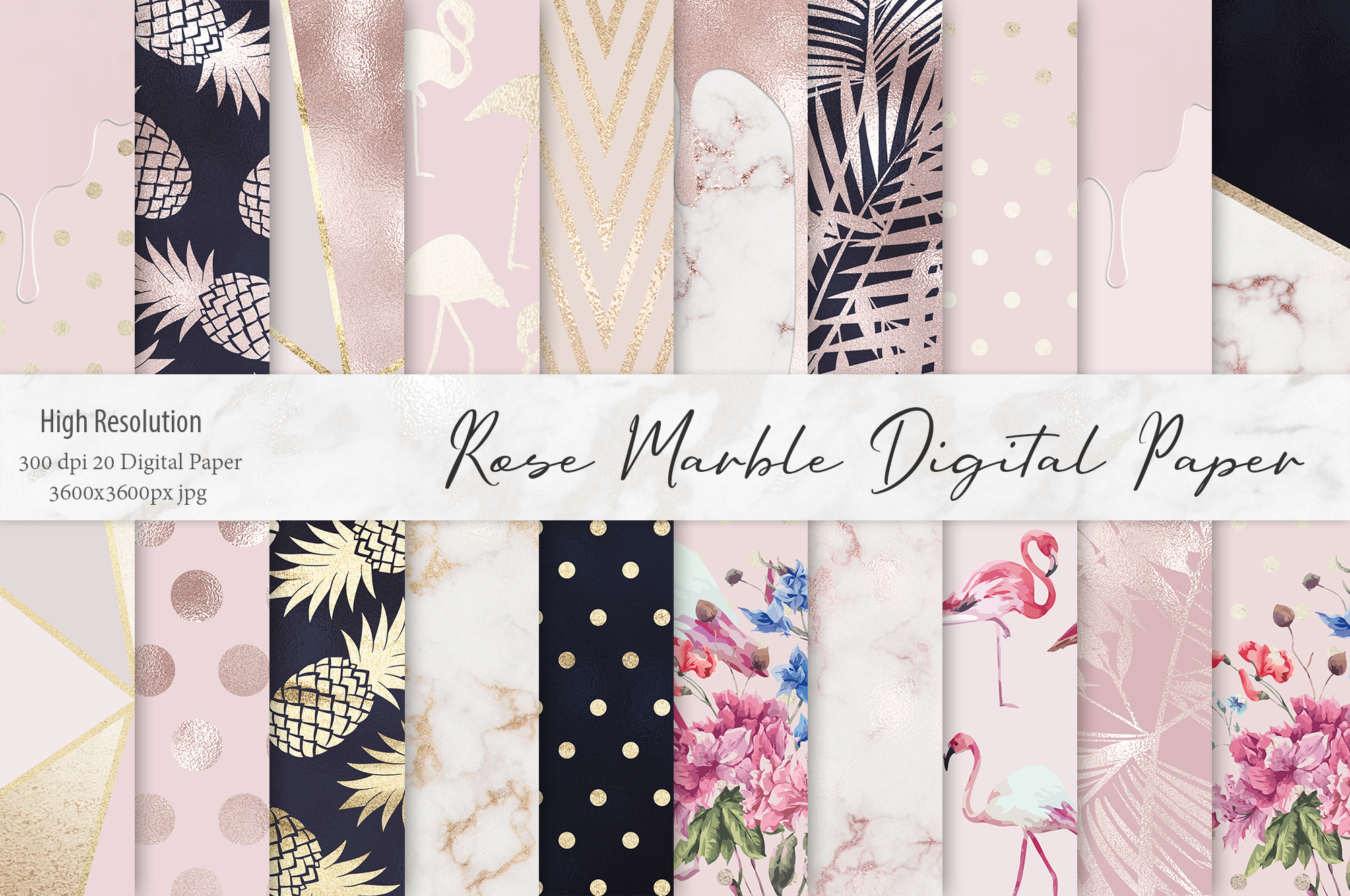 Rose Gold Marble Digital Paper example image 1