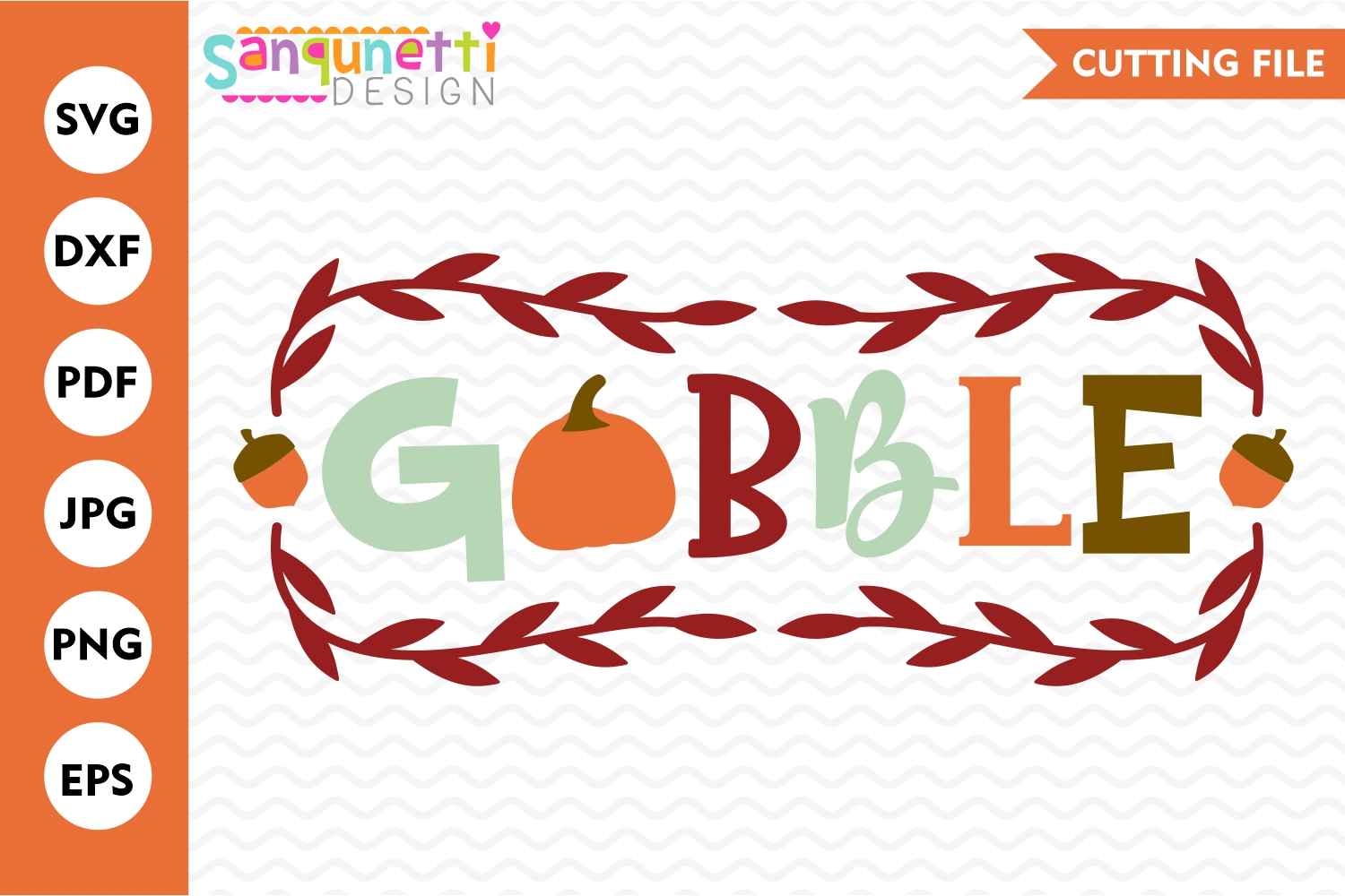 Gobble fall SVG, Thanksgiving autumn cut example image 1