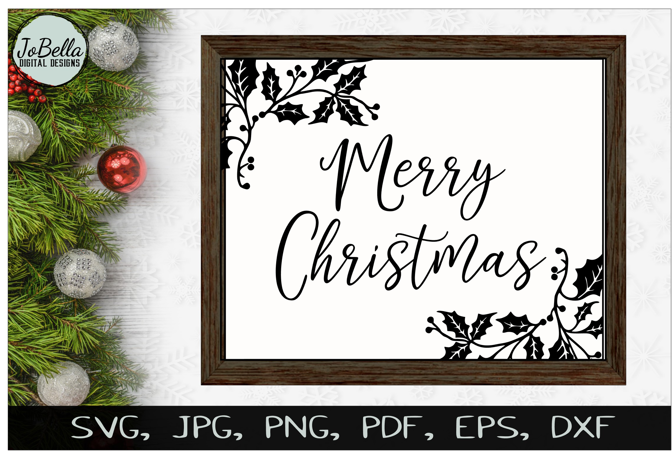 Holly Merry Christmas SVG, Sublimation PNGs, & Printables example image 2