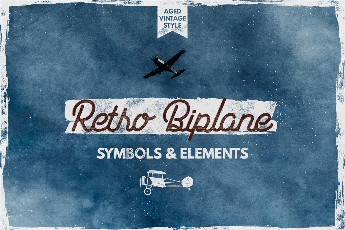Retro Biplane Symbols & Elements example image 1