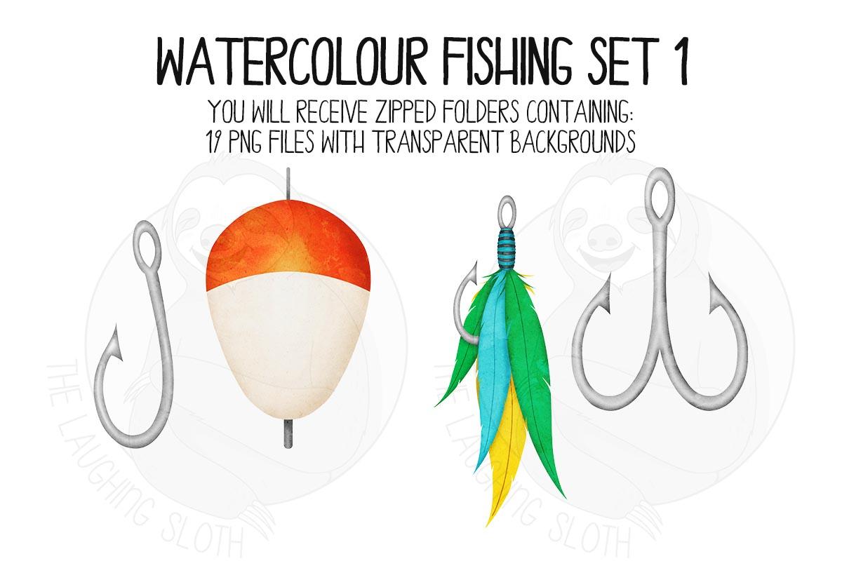Watercolor Fishing Clip Art Set 1 example image 4