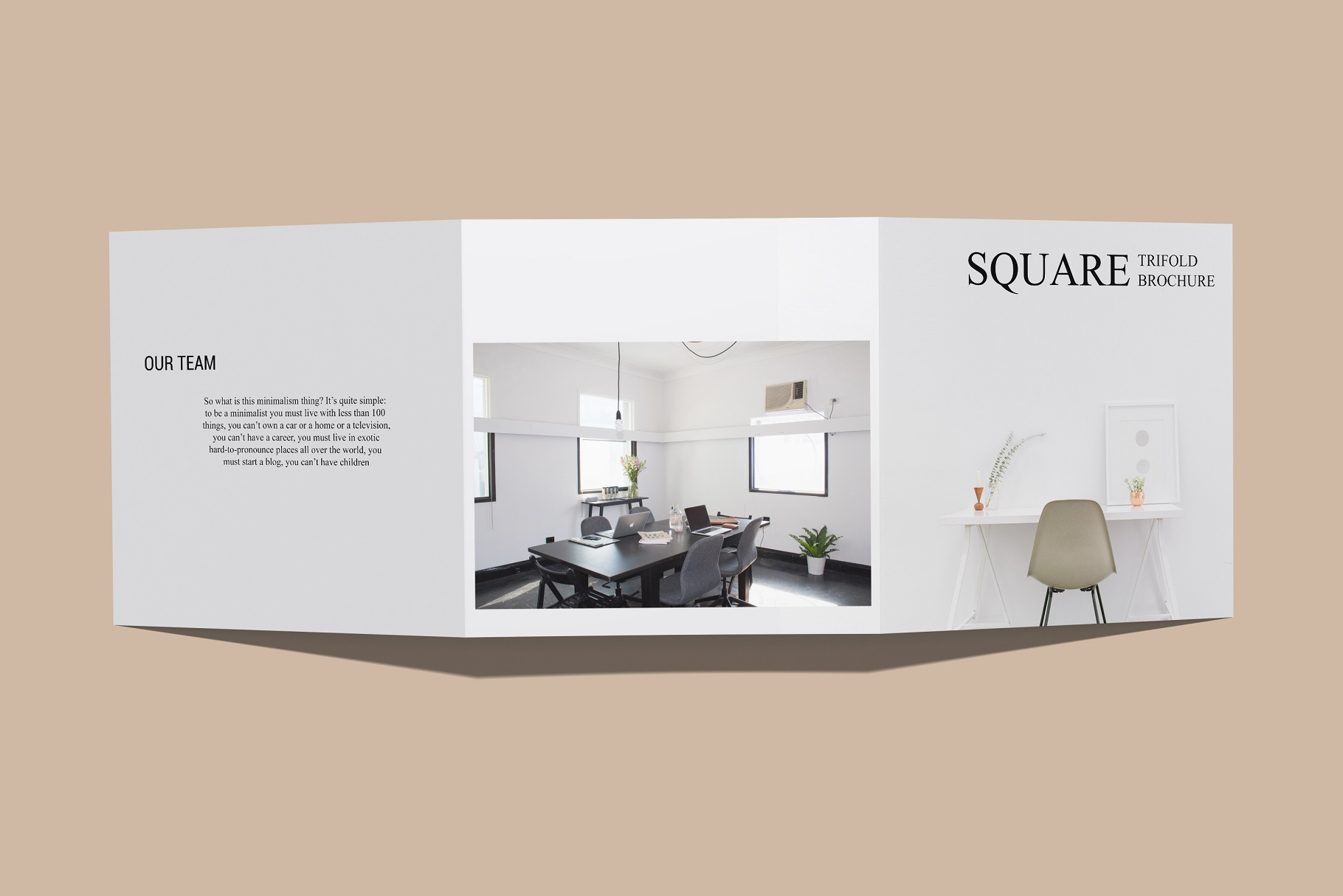 Square Trifold Brochure Mockup example image 8