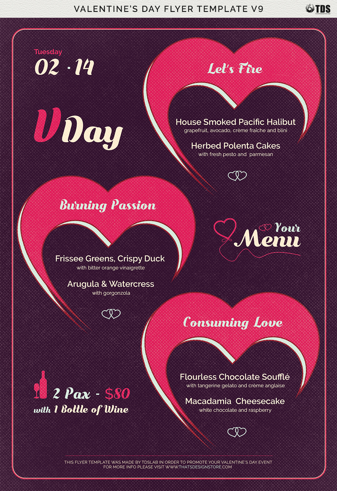 Valentines Day Menu Template V9