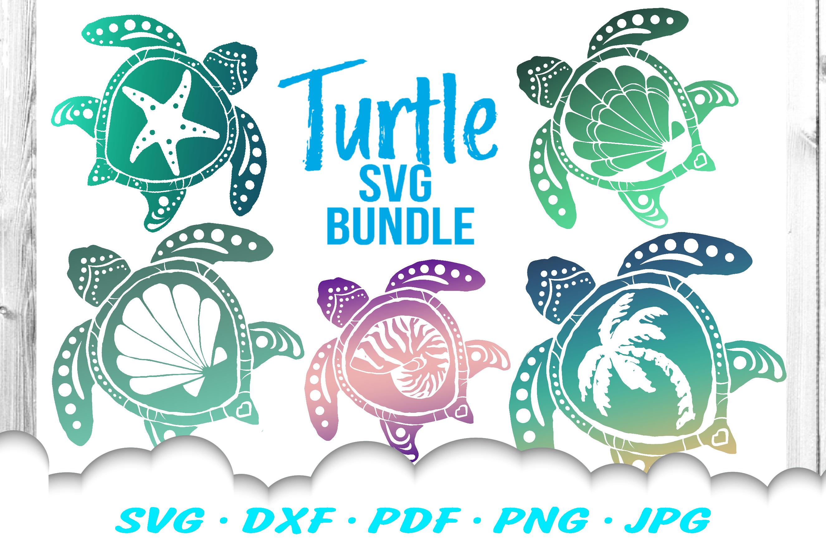 Sea Turtle Summer SVG DXF Cut Files Bundle example image 1