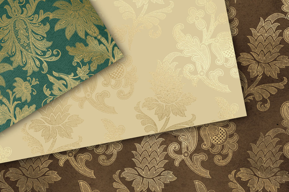Gold Floral Scroll Digital Paper example image 2