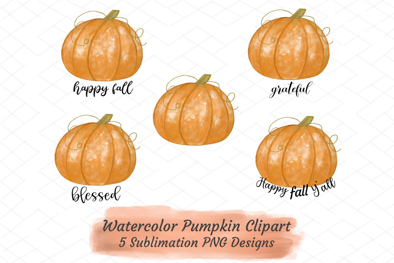 Fall Autumn Sublimation Bundle Watercolor Pumpkins Clipart example image 1