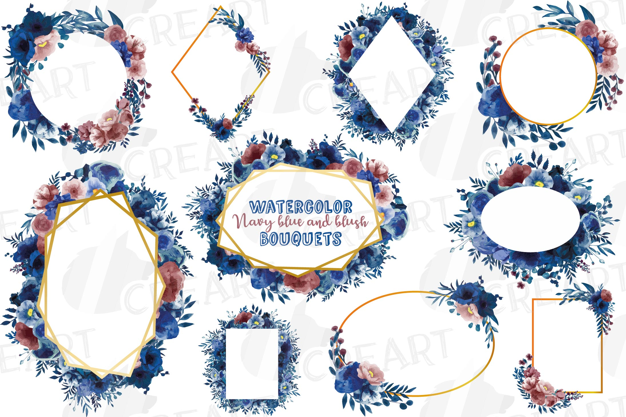 Watercolor elegant navy blue and blush floral borders vector example image 2