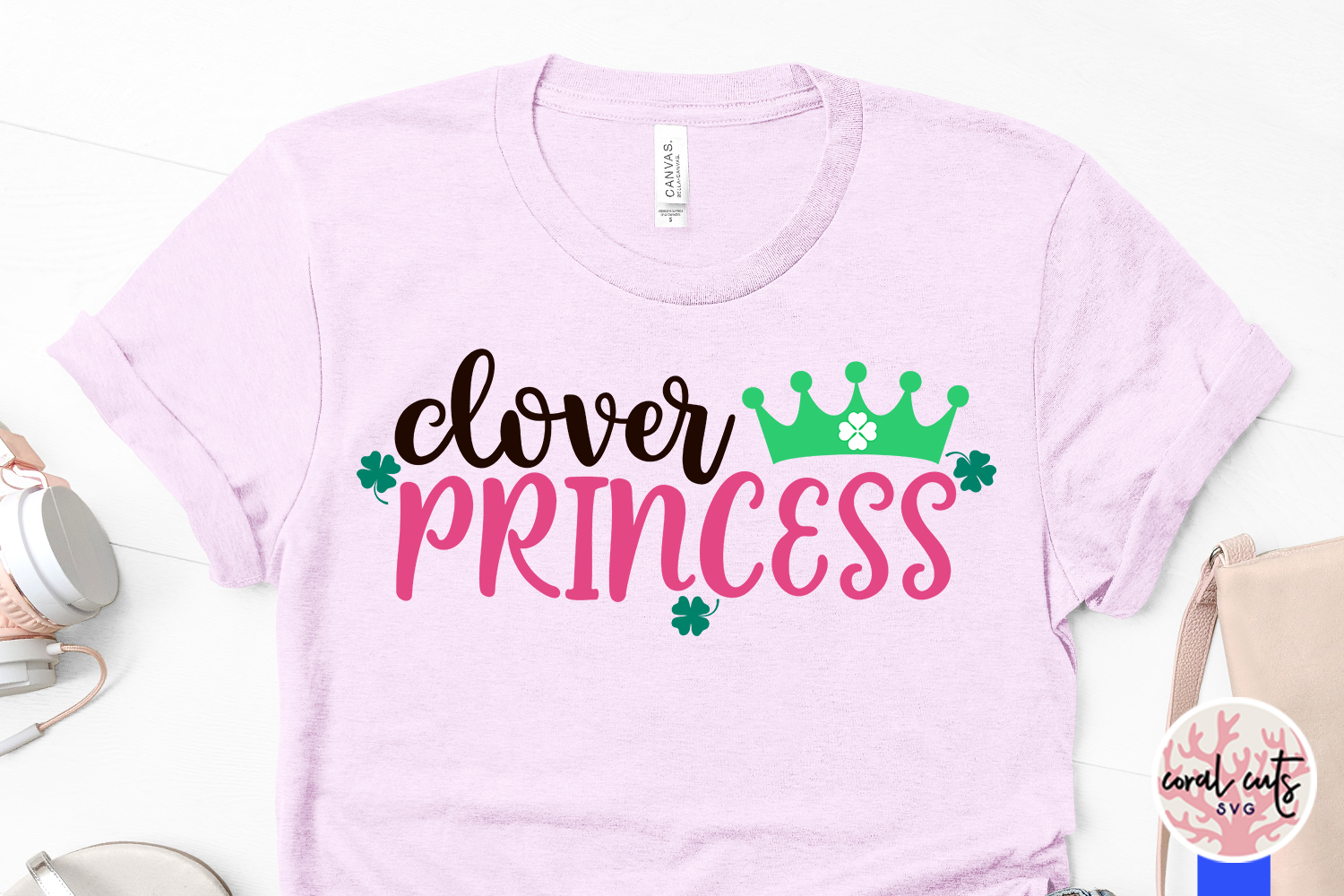 Clover princess - St. Patrick's Day SVG EPS DXF PNG example image 3