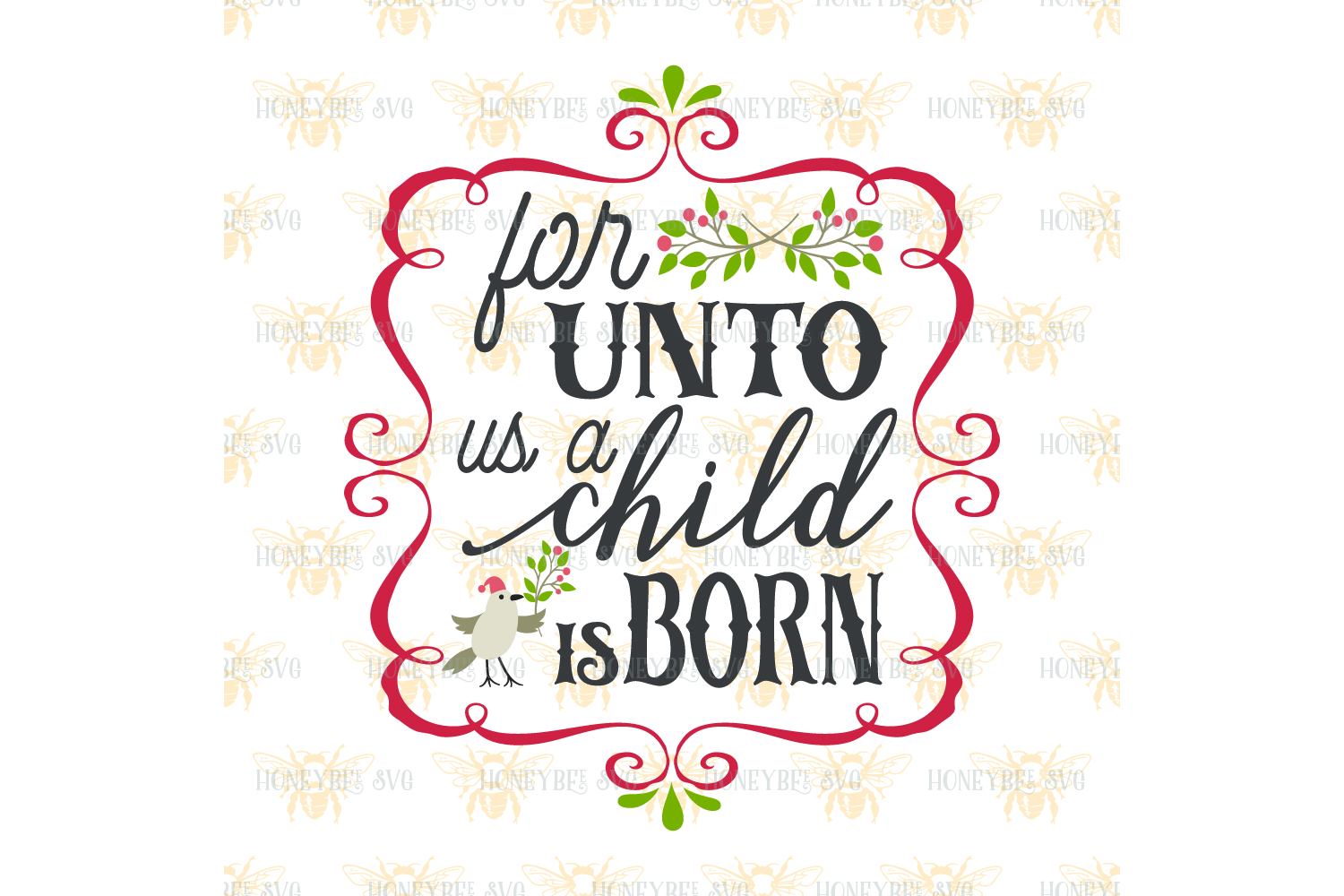 For Unto Us A Child Is Born svg example image 2