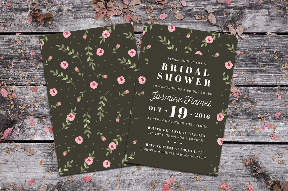 Floral Bridal Shower Invitation example image 2