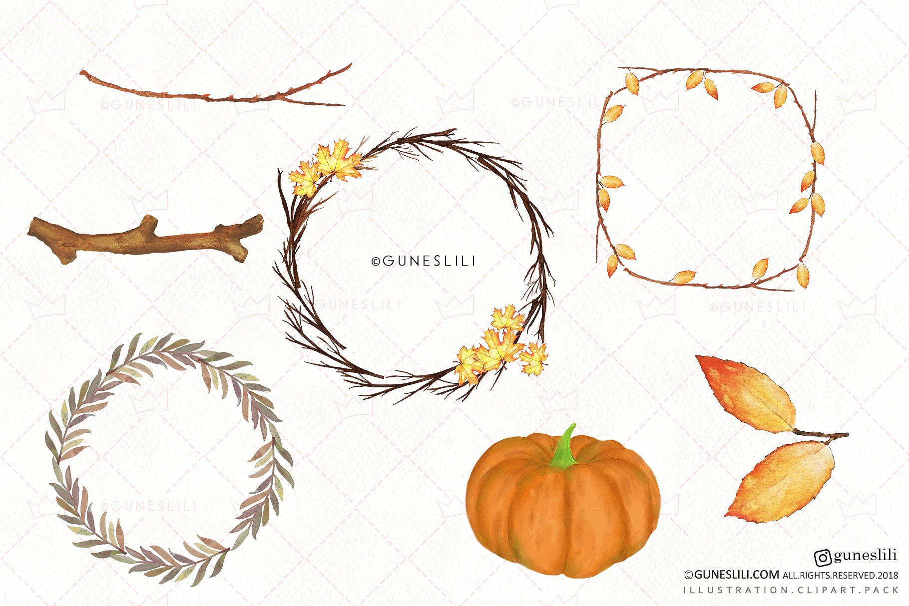 Watercolor Autumn Clipart Hand Painted Fall Graphics example image 5