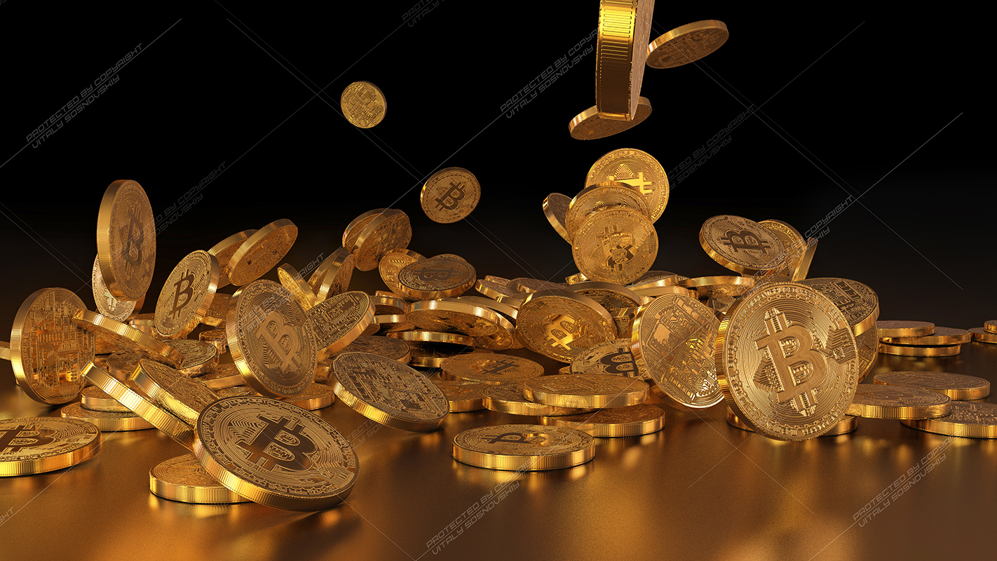 5  files - 3D rendering Bitcoins falling on a pile example image 3