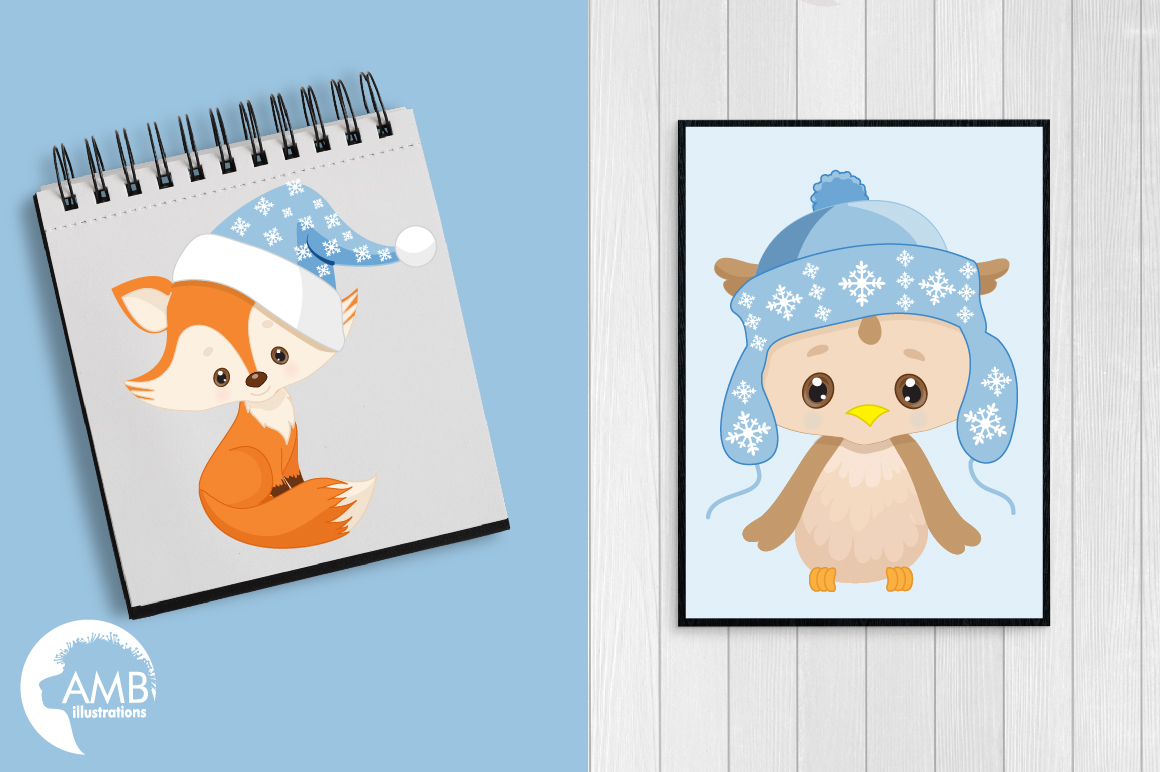 Christmas Critters, Christmas animals clipart, graphics, illustrations AMB-1515 example image 4