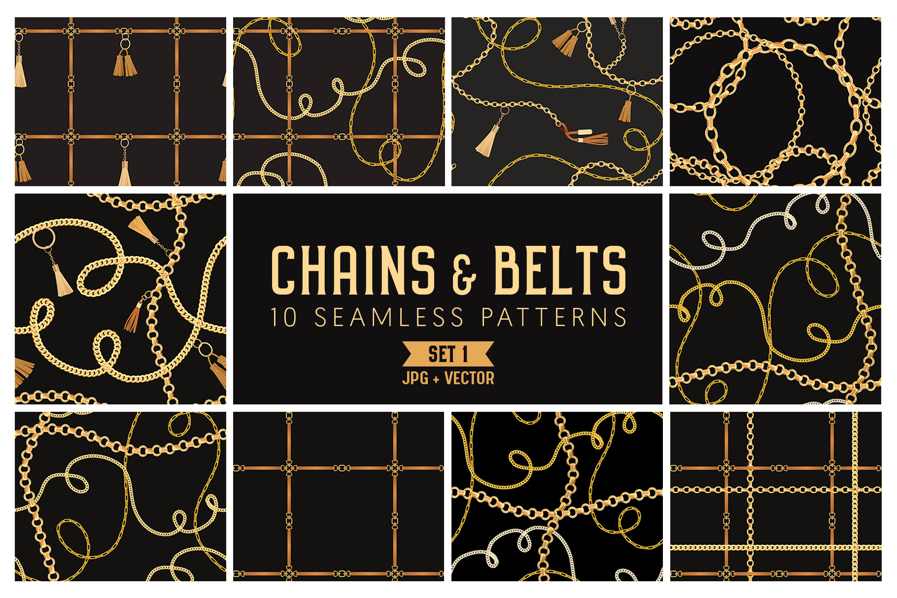 Chains and Belts Seamless Patterns. Set 1 example image 1