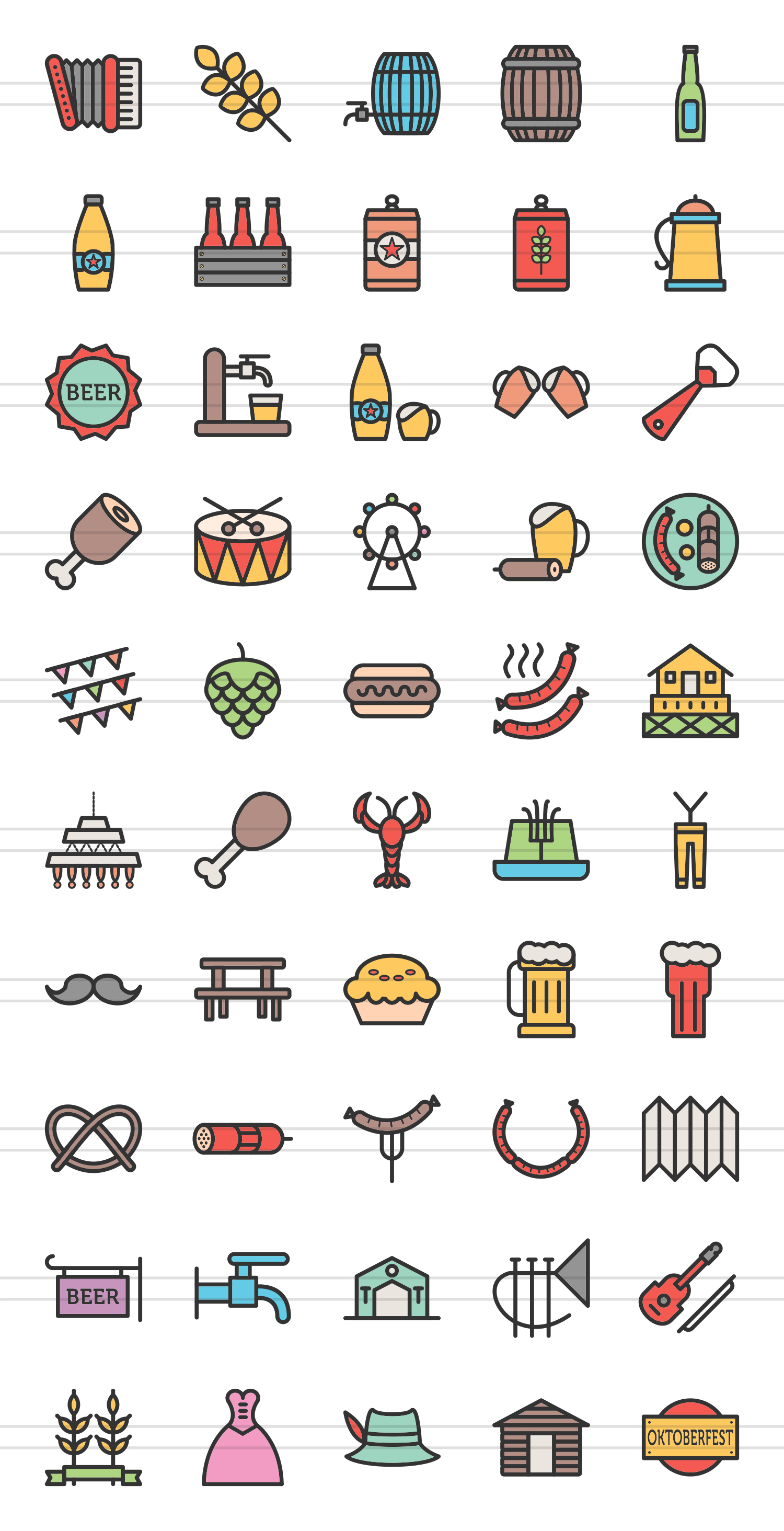 50 Oktoberfest Linear Multicolor Icons example image 2