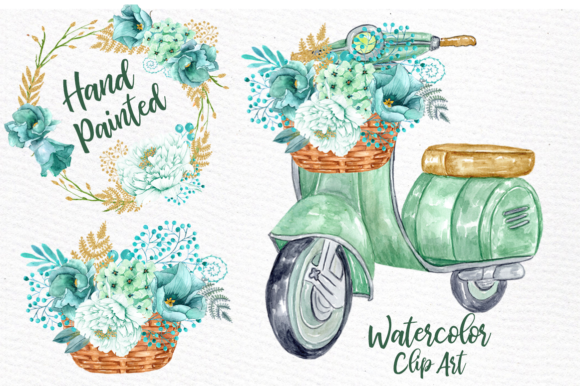 Mint Watercolor Flowers clip art Spring Flowers (114411 ...
