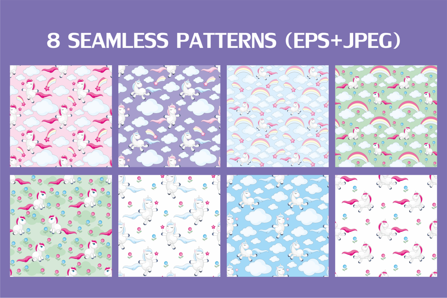 Funny unicorns. Vector clipart and seamless patterns. example image 4