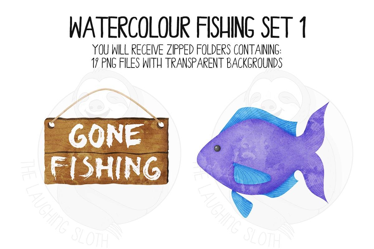 Watercolor Fishing Clip Art Set 1 example image 8