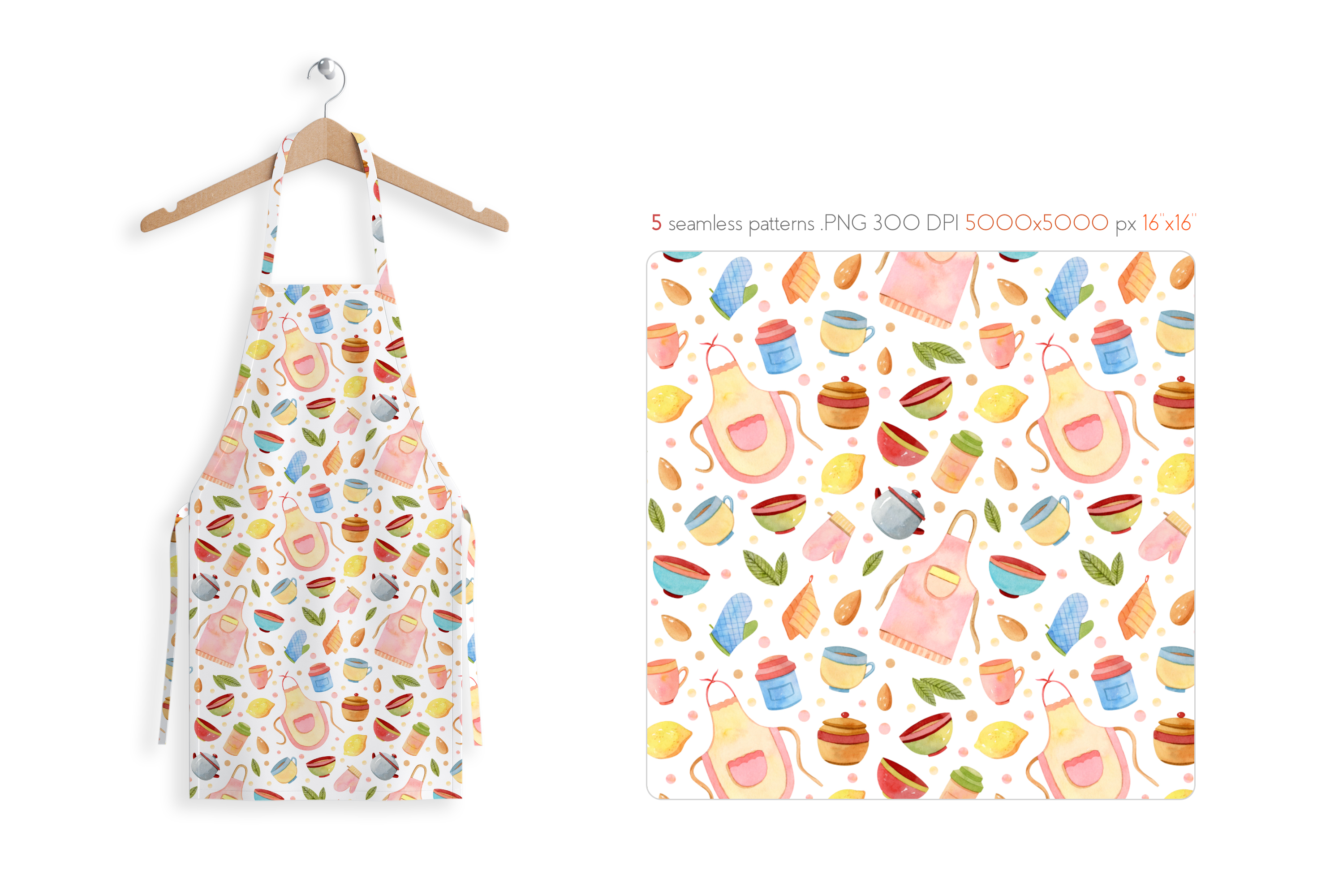 Watercolor Kitchen Utensils Set 2 example image 6