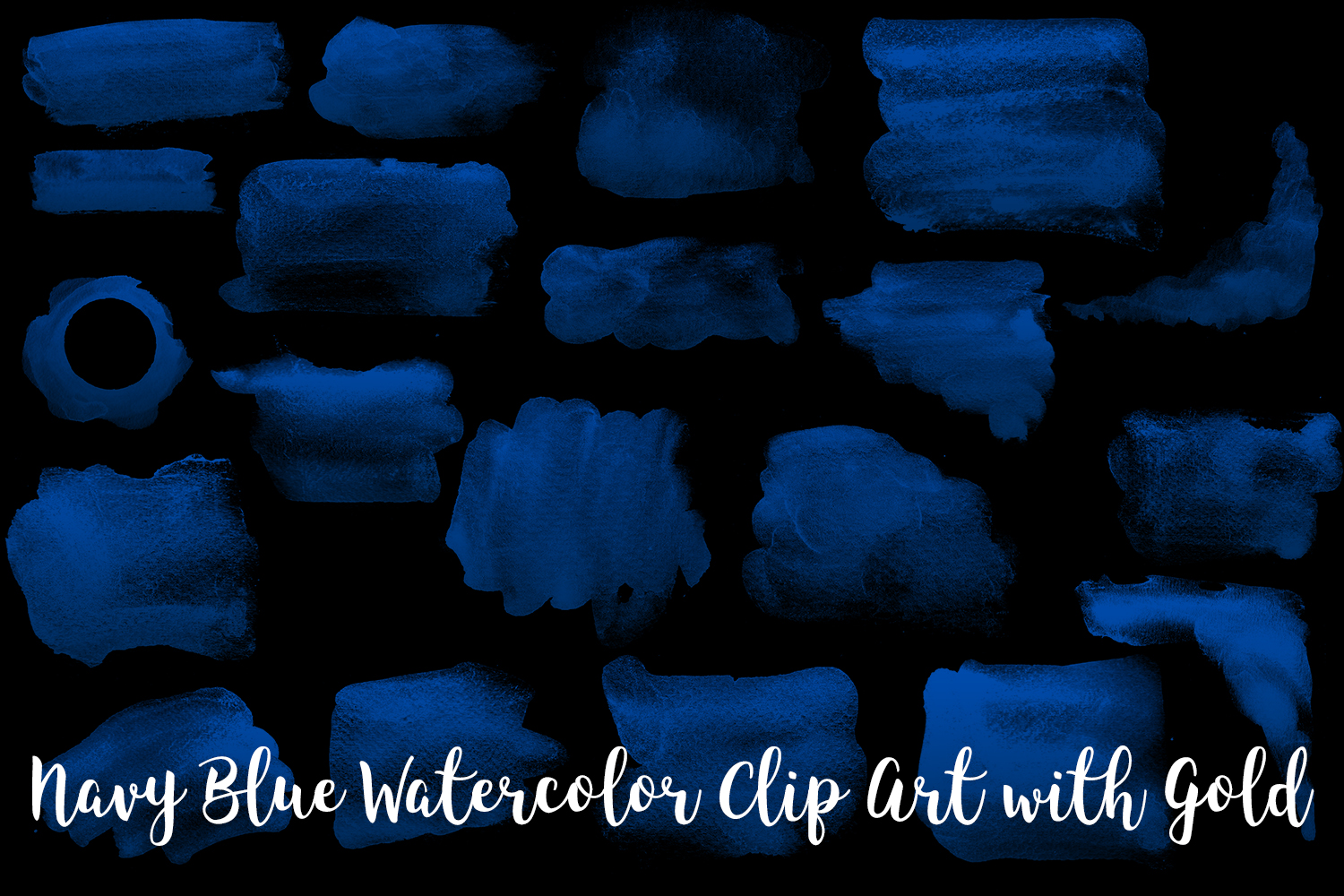 Navy Blue Watercolor Clip Art with Gold, Transparent PNG example image 2