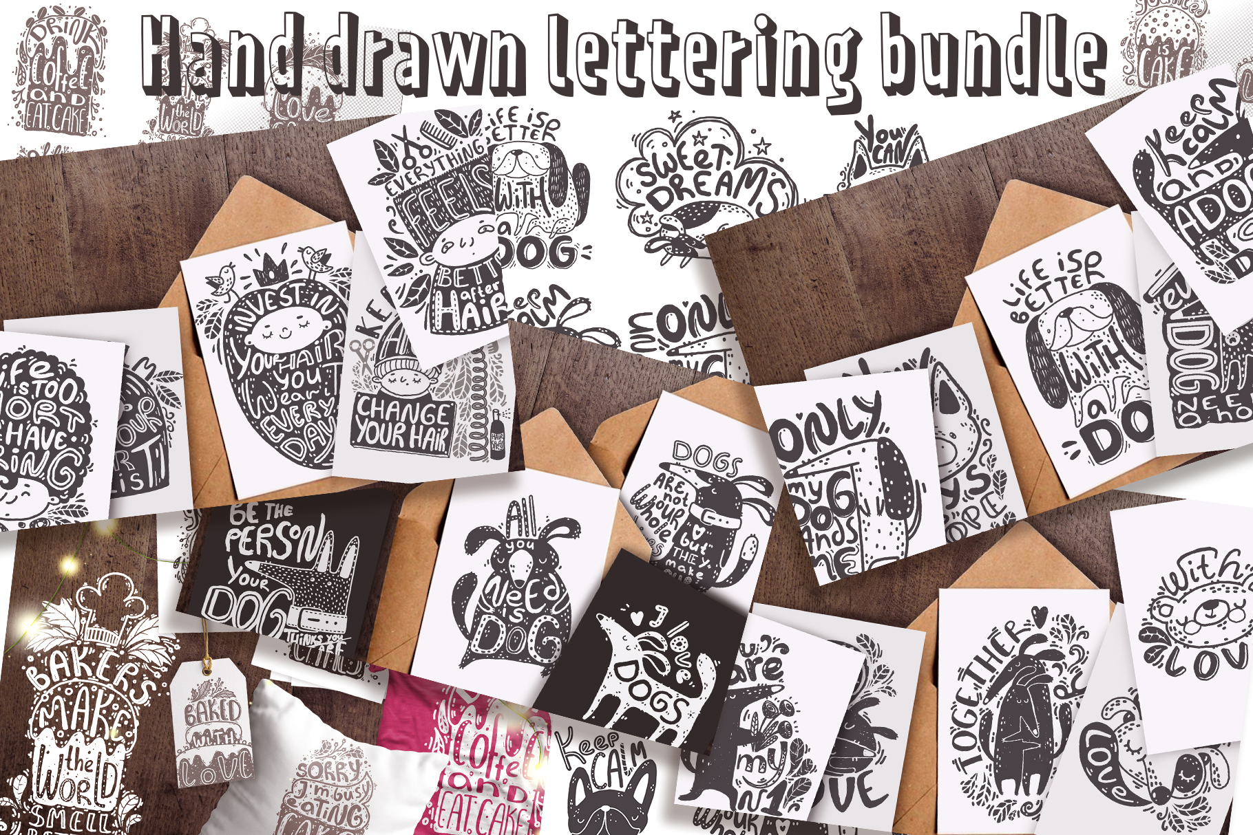 Hand drawn lettering bundle example image 1
