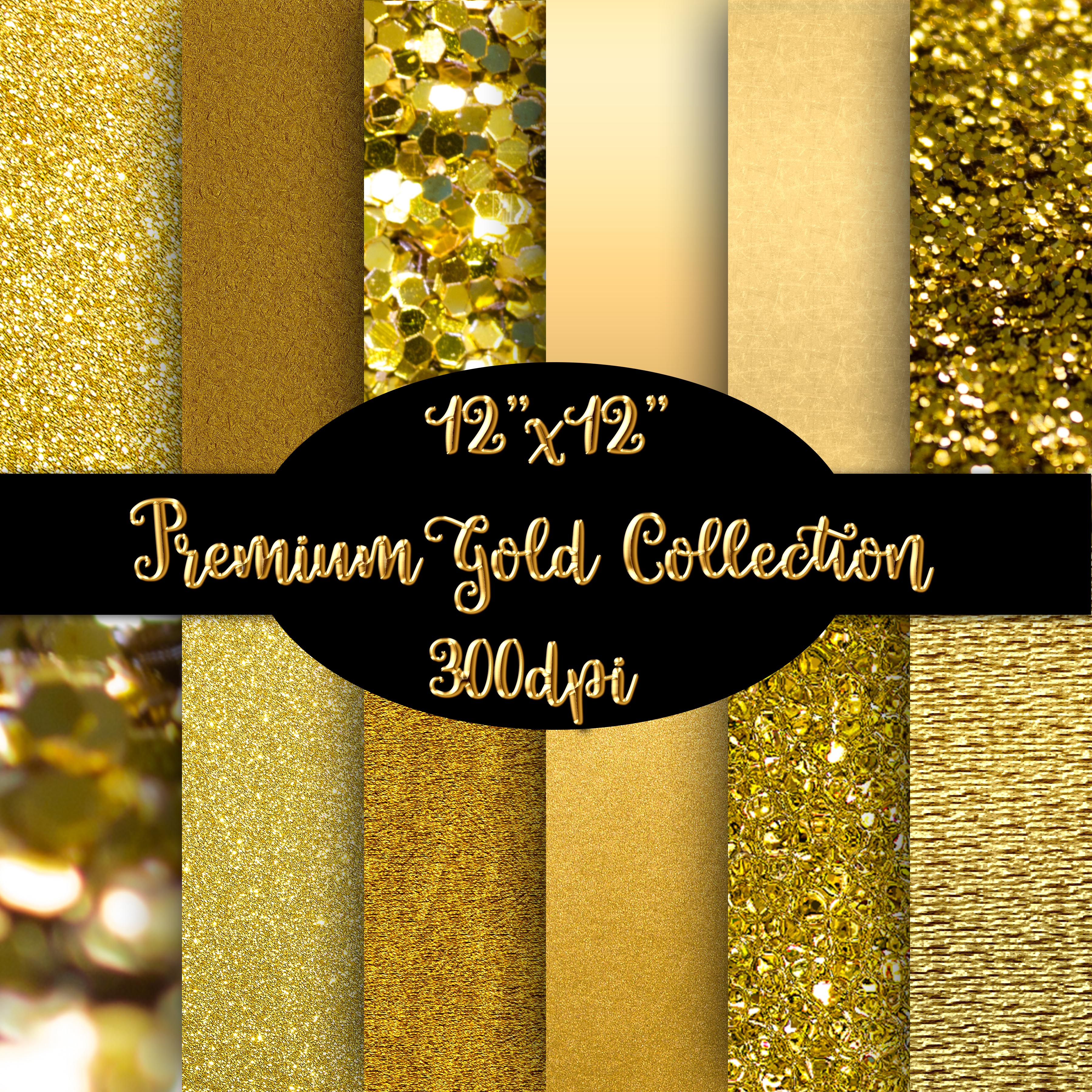 12 Premium Gold Textured Papers / Backgrounds example image 1