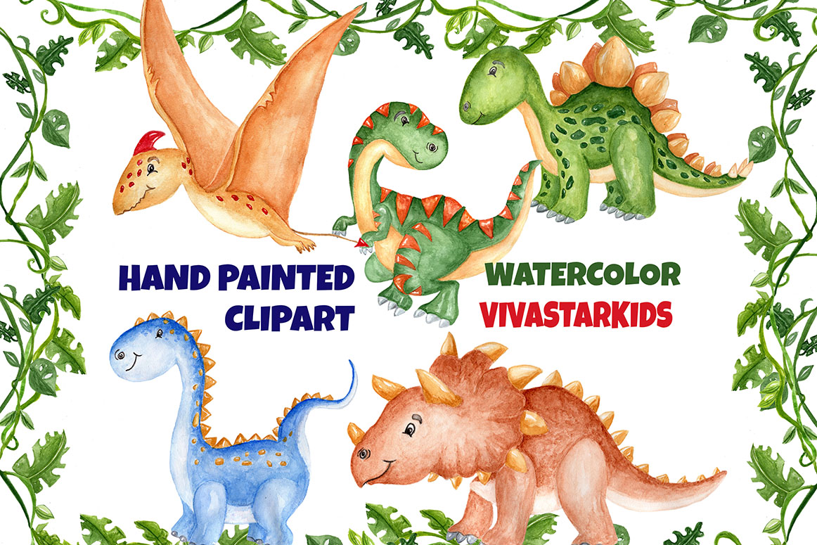 Watercolor Dinosaur Clipart example image 2