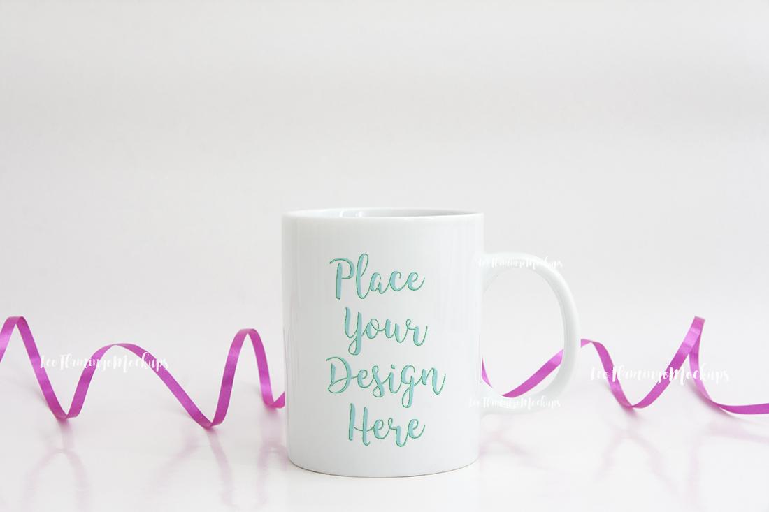 White mug mockup feminine romantic mock up example image 4