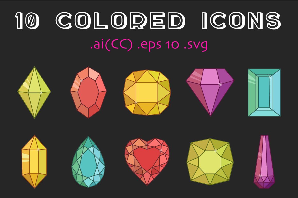 10 Colored and 10 Outline Gemstones  example image 2