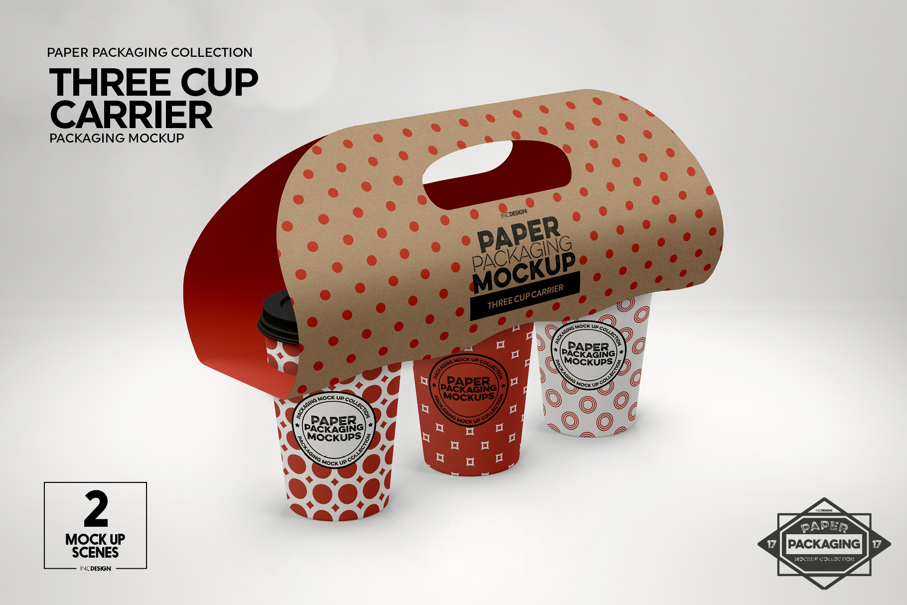 Three Cup Paper Carrier Packaging Mockup example image 4