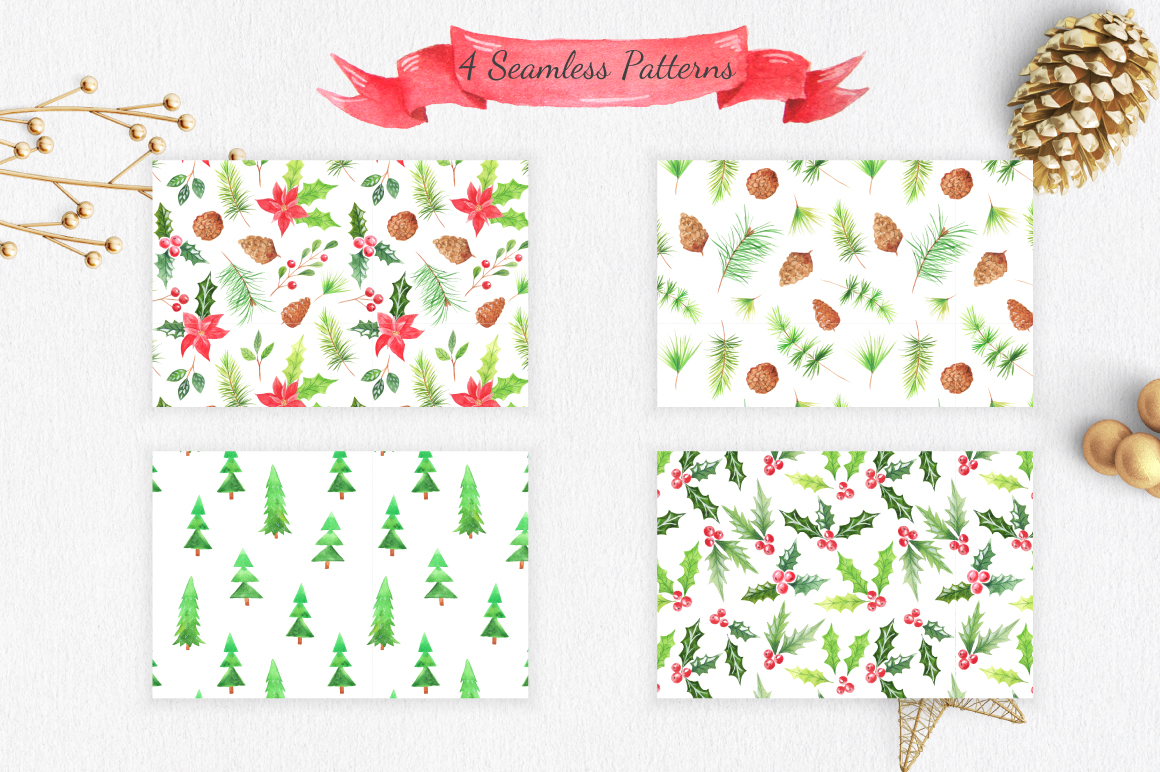 Watercolor Christmas Design Pack example image 5