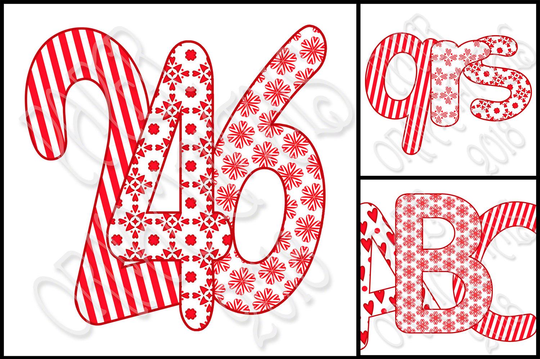 Clip Art Valentine Red Tan Alphabet Set 2