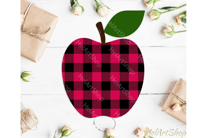 Buffalo Plaid Apple svg, Teacher svg, Back To school svg example image 1