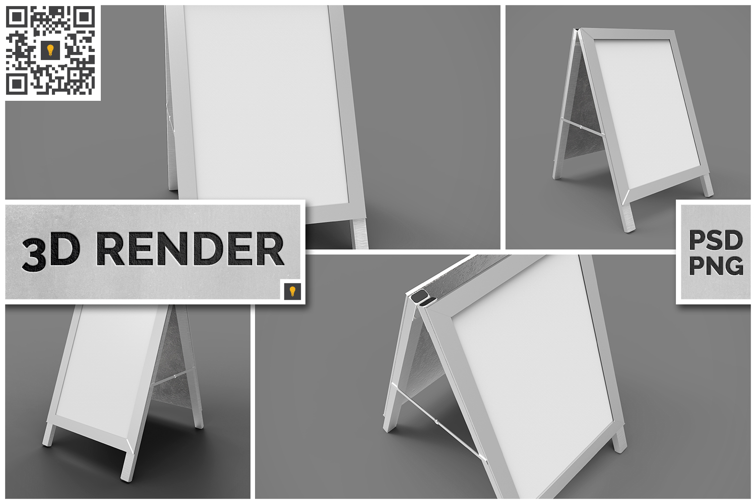 Poster Stand Display 3D Render example image 1