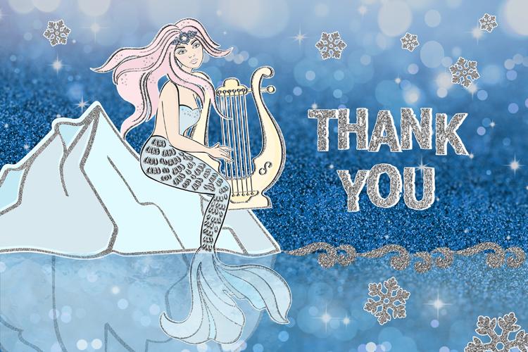 ICE MERMAID Glitter Christmas Illustration Set example image 10