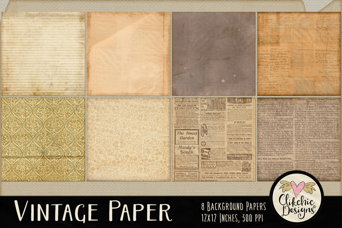 Vintage Paper Backgrounds - Vintage Texture Digital Papers example image 2