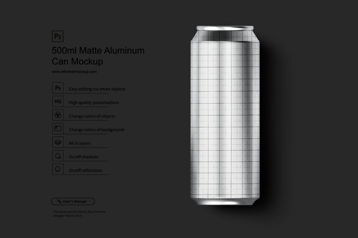 500ml Matte Aluminum Can Mockup example image 2