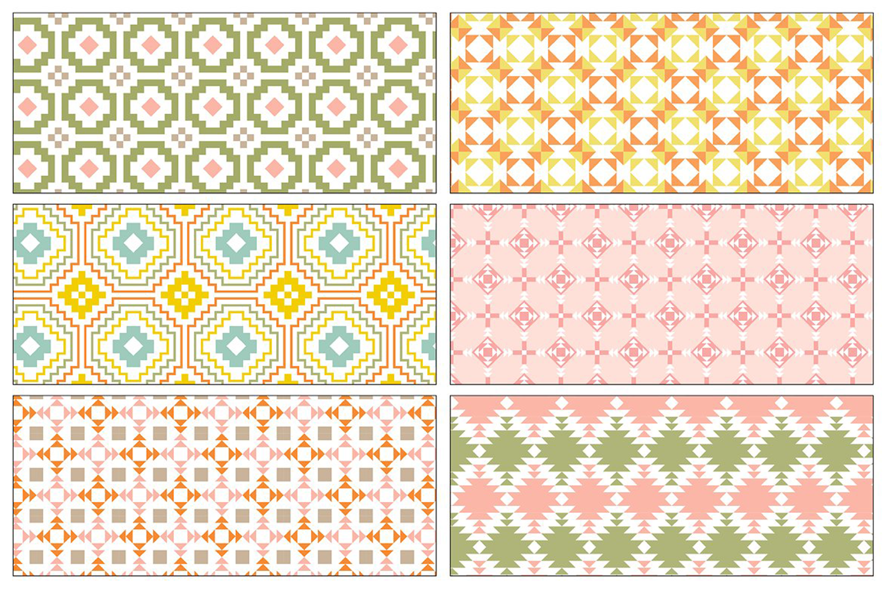 Seamless Pastel Native American Patterns example image 6