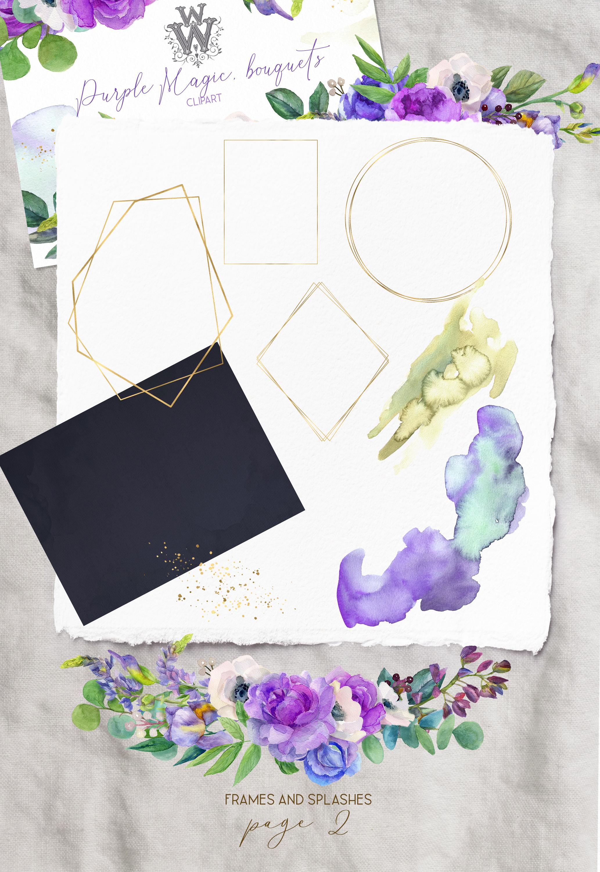 Watercolor purple bouquets clipart wedding arrangement example image 3