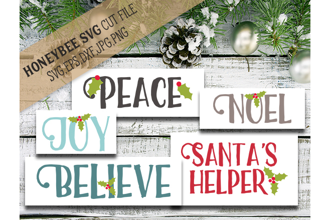 Christmas Word Bundle cut files svg example image 1